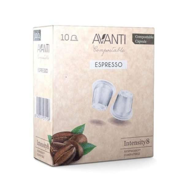 Caja de 10 cápsulas compostables compatibles Nespresso