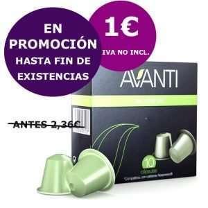 oferta caja de 10 cápsulas Avanti descafeinado compatibles Nespresso